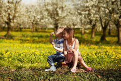 Girl with boy in a orchard royalty free stock images