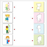 Girl and boy with paints, easel, globe and book. Educational gam Royalty Free Stock Photos