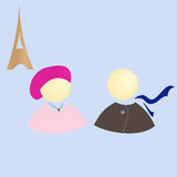 Girl and boy in Paris, vector illustration. Girl and boy in Paris on a background of the Eiffel Tower, vector illustration Stock Photos