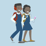 Girl and boy with the phone. Children with gadgets. Royalty Free Stock Photography