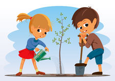 Girl and boy planted a tree Royalty Free Stock Image