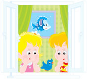 Girl and boy play with a sparrow. Vector clip-art illustration of children watching an amusing sparrow Royalty Free Stock Photo
