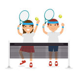Girl and boy player tennis jump with rscket ball Royalty Free Stock Photography