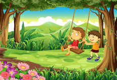 A girl and a boy playing at the jungle Royalty Free Stock Image