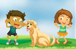 Girl and boy playing with pet dog Stock Photography
