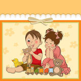 Girl and boy plays with toys Stock Photography