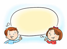 Girl and boy pointing on white blank speech thought bubble Royalty Free Stock Photos