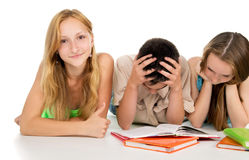 Girl and boy preparing for exams Royalty Free Stock Photography
