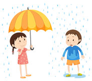 Girl and boy in the rain. Illustration Stock Image