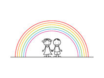 Girl and boy with rainbow Stock Photography