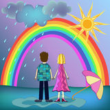 Girl, boy , rainbow illustration Stock Image