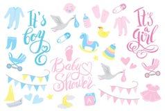 Girl and boy rattle shower invitation, lettering design illustration Stock Photo