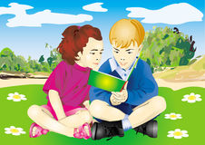 Girl and boy read the book stock illustration