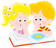 Girl and boy read a book. Vector clip-art illustration of children reading an illustrated book Stock Image