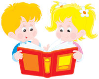 Girl and boy read a book. Vector clip-art illustration of children reading a red book Stock Photos