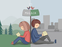 Girl and boy read mail. Near mailbox Royalty Free Stock Image
