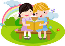 Girl and boy reading the book stock illustration
