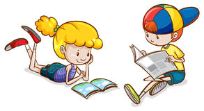 A girl and a boy reading Stock Image