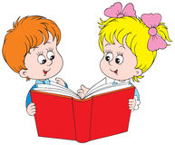 Girl and boy reading the red book Royalty Free Stock Photo