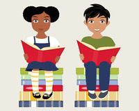Girl and Boy Reading Royalty Free Stock Photo