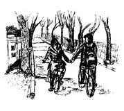Girl and boy riding bicycles holding hands in Istanbul Biyukada  sketch illustration. Girl and boy riding bicycles holding hands on the street in Istanbul Royalty Free Stock Photos