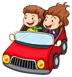 A girl and a boy riding in the red car Royalty Free Stock Image
