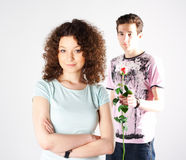 Girl boy and rose Royalty Free Stock Photography