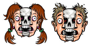 Girl and boy's face with skull. Showing off and eyeballs out Royalty Free Stock Photography