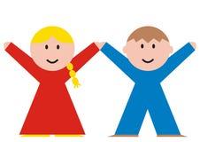 Girl and boy, sample figure. Girl and boy, vector icon, sample figure of girl and boy.Colored illustration Stock Image