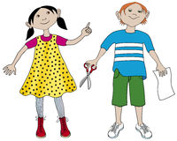 Girl and boy at school. A girl and a boy at school with a pair of scissors and and a paper Royalty Free Stock Photography