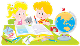 Girl and boy with a scrapbook. Vector illustration of children designing a scrapbook Royalty Free Stock Photography