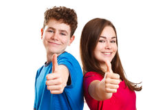 Girl and boy showing Ok sign Stock Images