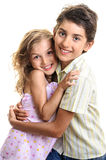 Girl and boy sibling hug portrait Stock Photos