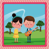 Girl boy sing song guitar love rural landscape Stock Photo