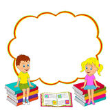 Girl and boy sit on the book Stock Photography