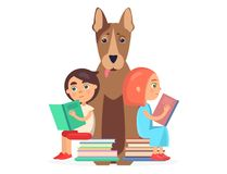 Girl and Boy Sits on Two Pile of Books with Dog Royalty Free Stock Photo