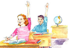 Girl and boy sitting at desks while lesson in classroom. Hand painted Watercolor Illustration: Girl and boy sitting at desks while lesson in classroom Royalty Free Stock Image