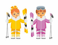 Girl and boy with skis Royalty Free Stock Images
