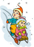Girl  and boy with sled Royalty Free Stock Photos