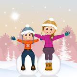 Girl and boy on snowball. Illustration of girl and boy on snowball Royalty Free Stock Image