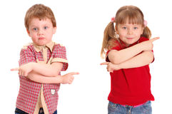 The girl and the boy specify a way. On white royalty free stock image