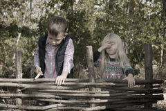 Girl and Boy Standing on Fence Outdoors Stock Image