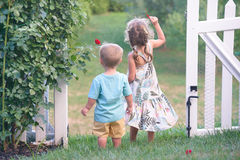 Girl and boy standing in the gates looking down the hill Royalty Free Stock Photo