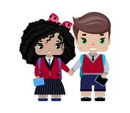 Girl and boy students in school uniform, with backpacks, a book, an electronic textbook, a tablet. Smile and hold hands. First-graders royalty free illustration