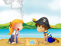 A girl and a boy studying the map Royalty Free Stock Photo