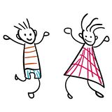 Girl and boy in the style of childrens drawings color stock illustration