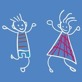 Girl and boy in the style of childrens drawings stock illustration