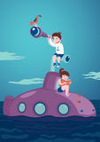 Girl and boy on a submarine. Kids Journey and adventure. Girl with a book and boy with a telescope are siting on a submarine Royalty Free Stock Photo