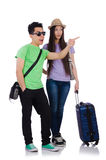 Girl and boy with suitcase isolated on white Stock Photos