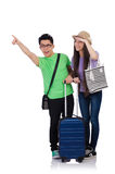 Girl and boy with suitcase isolated on white Royalty Free Stock Image